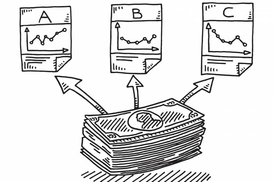 Drawing of dolalrs being directed to three different investment options
