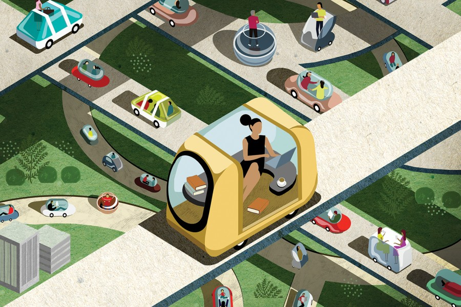 Illustration of automated cars and passengers engaging in non-driving activities