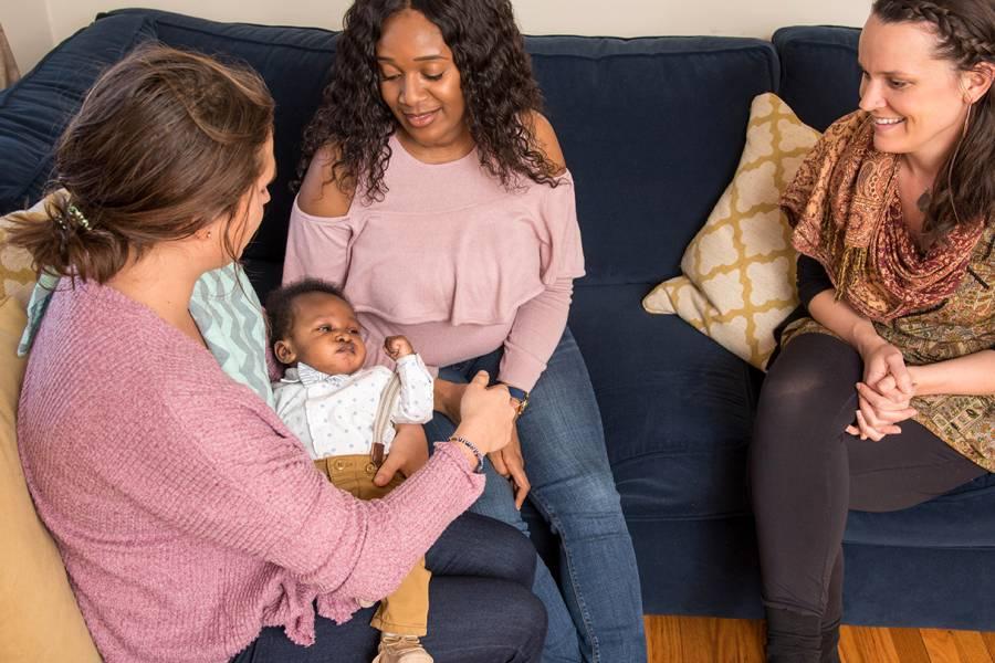 Laura Moro, Ashley Fadiora, and Jodie Pelusi with baby Nova