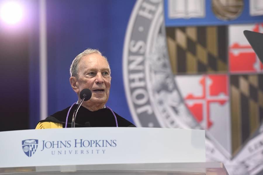 Michael Bloomberg addresses the graduates
