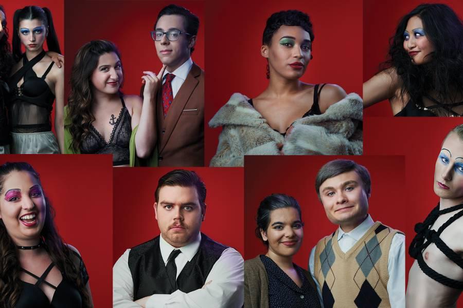 Composite image of actors in stage makeup