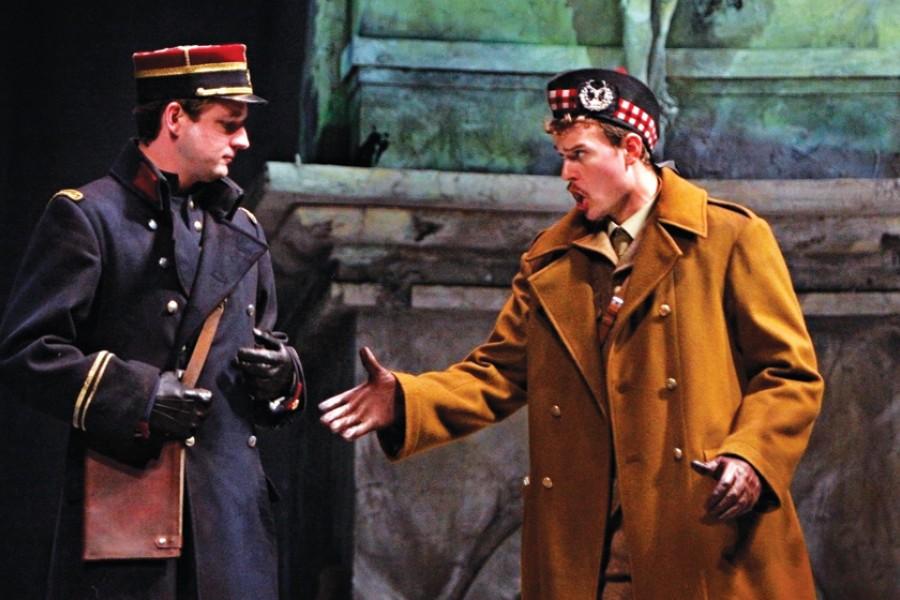 Lt. Audebert (Liam Bonner) and Lt. Gordon (Gabriel Preisser) lay down their arms in a Christmas Eve cease-fire.