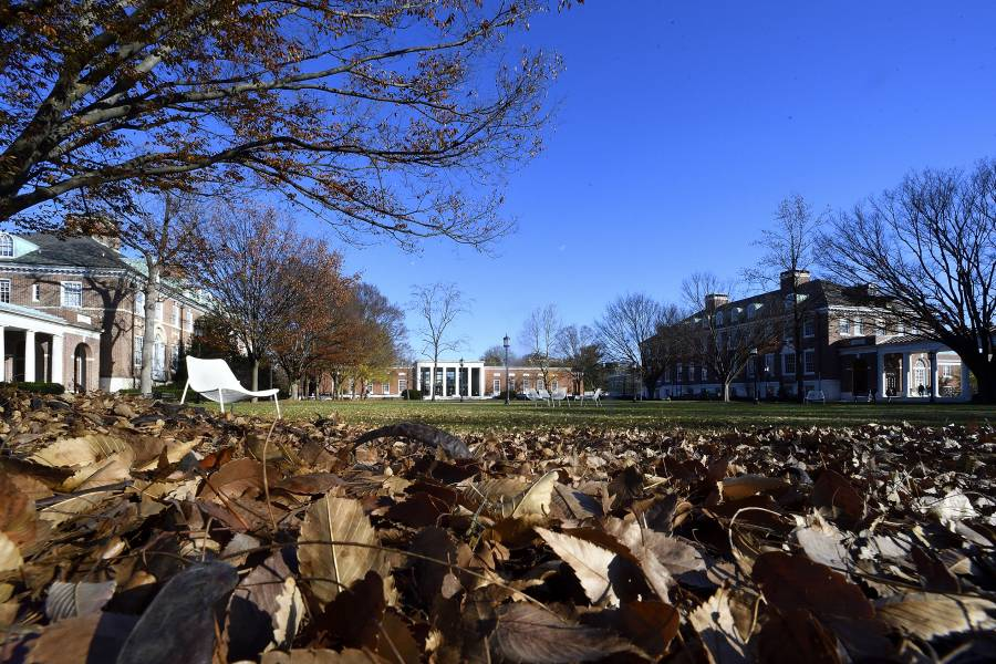Keyser Quad with fall leaves in the foreground