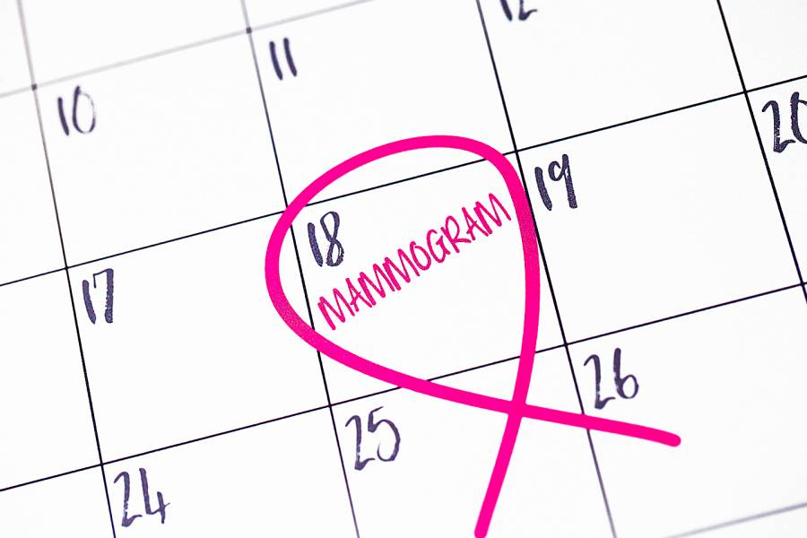 Mammogram date circled on calendar