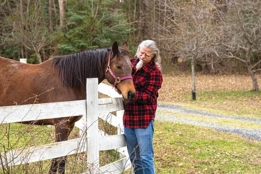 Carey Priebe grooms a horse