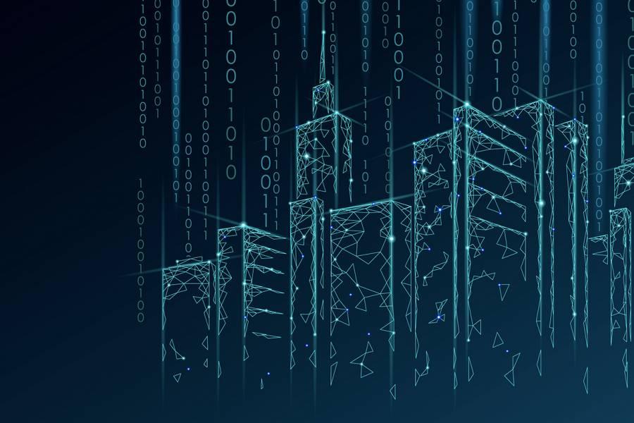 City skyline and data