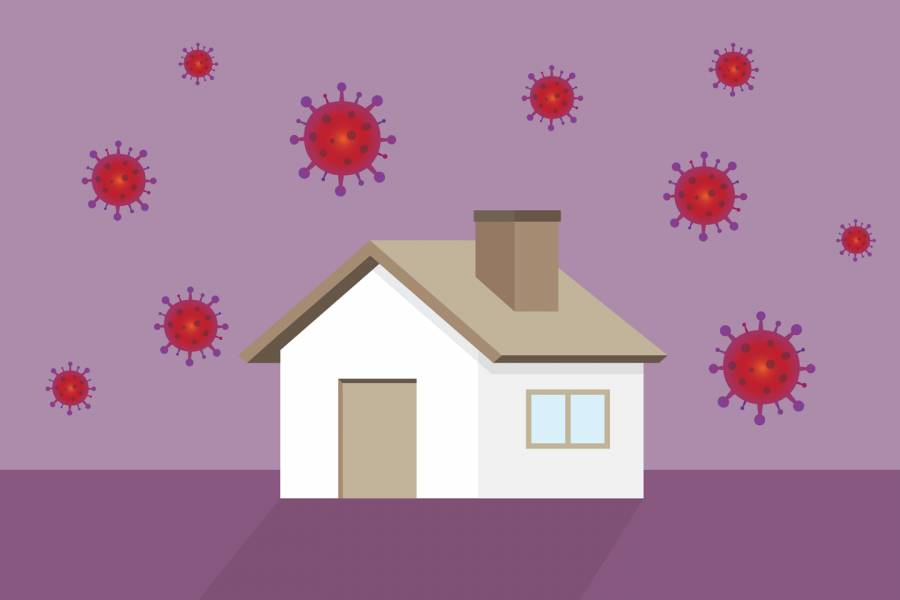 Illustration of house with coronavirus symbols in the sky