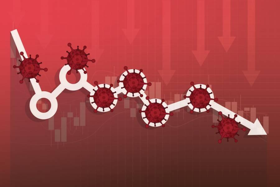 Illustration of coronavirus pathogens amid downward trending arrows