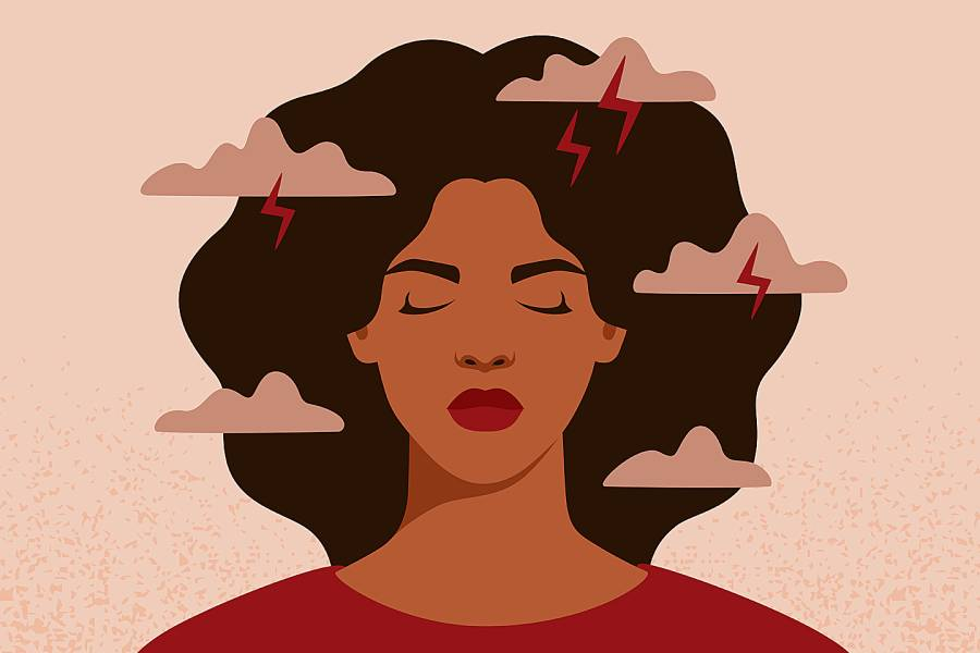 Illustration of sad-looking woman with clouds and lightning bolts hovering over her head