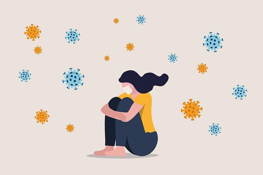 Illustration of depressed woman sitting alone with coronavirus pathogens