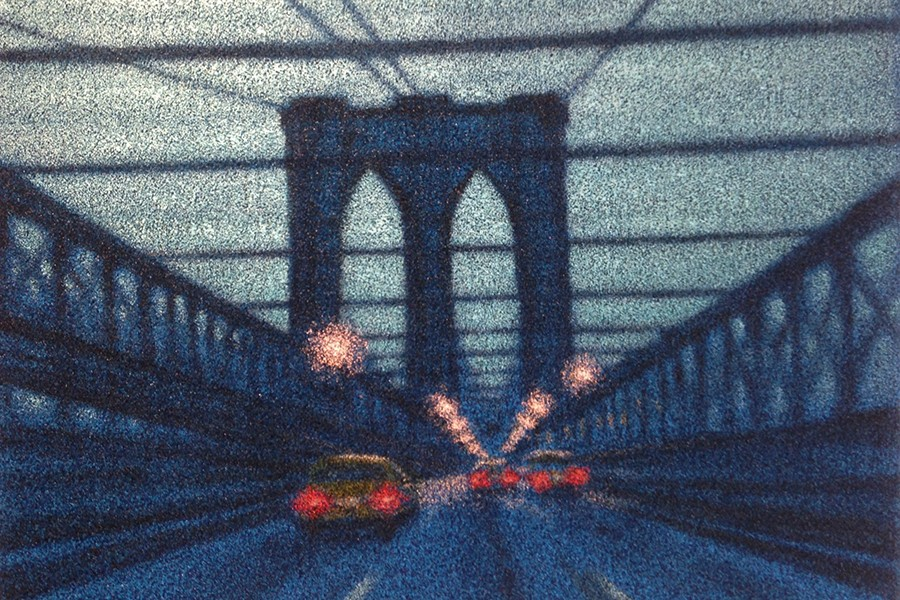 Painting of Brooklyn Bridge with streetlights, cars, and taillights at dusk