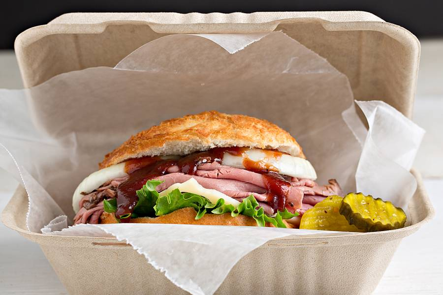 Big sandwich in a to-go container