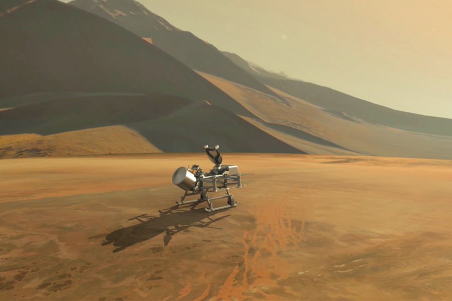 Artist's rendering of Dragonfly rotorcraft in a hilly dune