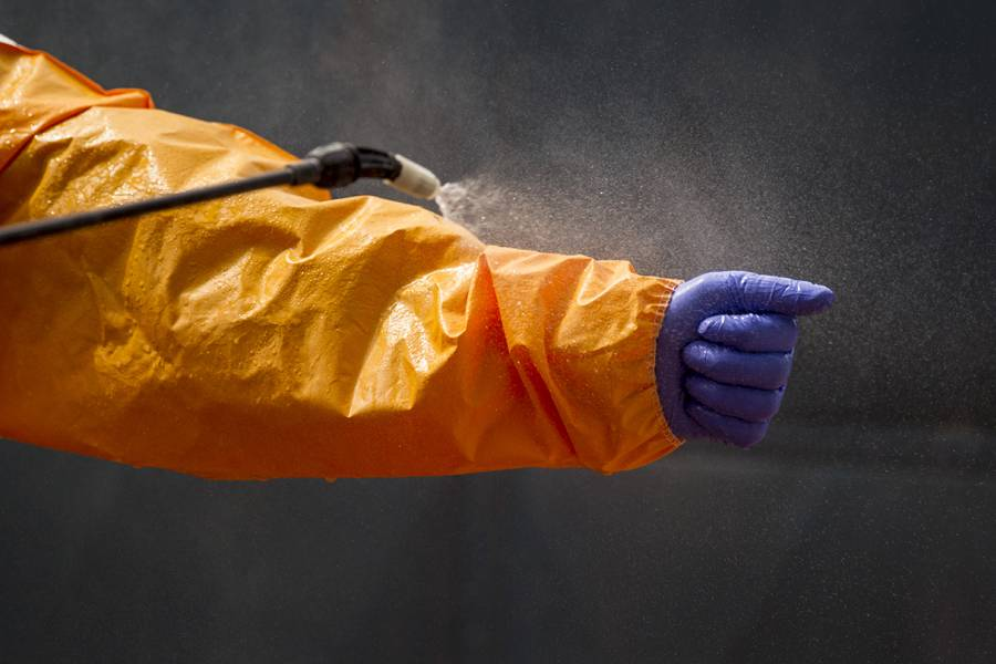 Ebola suit is disinfected