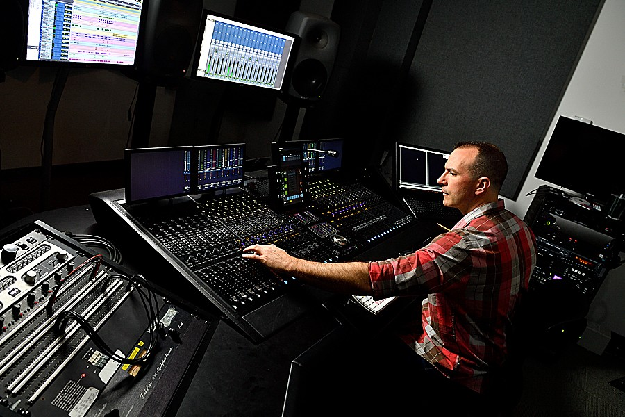Ed Tetreault using equipment in Studio A