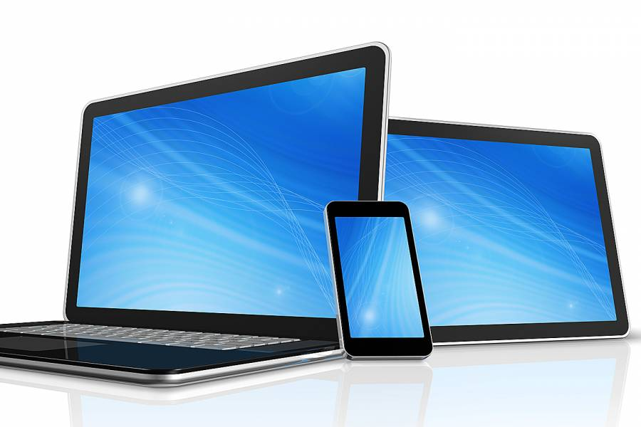 Stylized image of a computer, tablet, and cellphone