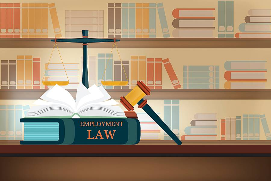 Illustration of law library with employment law book on table in the foreground