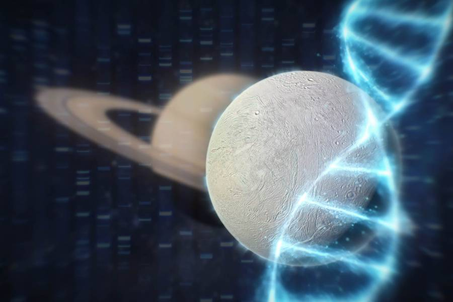 Enceladus moon with DNA sequence and double helix