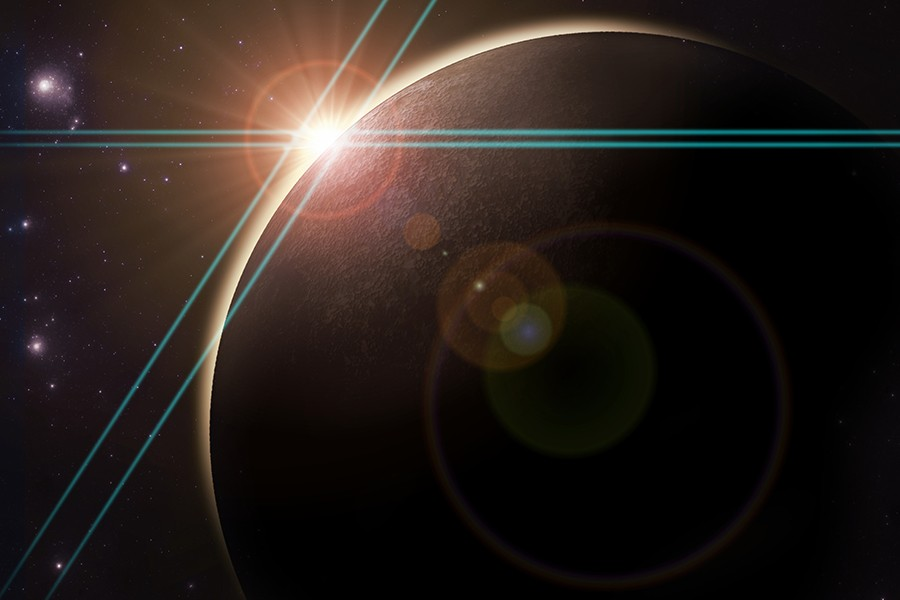 Image shows a ray of light silhouetting a planet in outer space