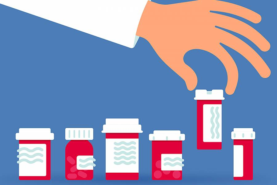 Illustration of a handing picking up a bottle of prescription drugs