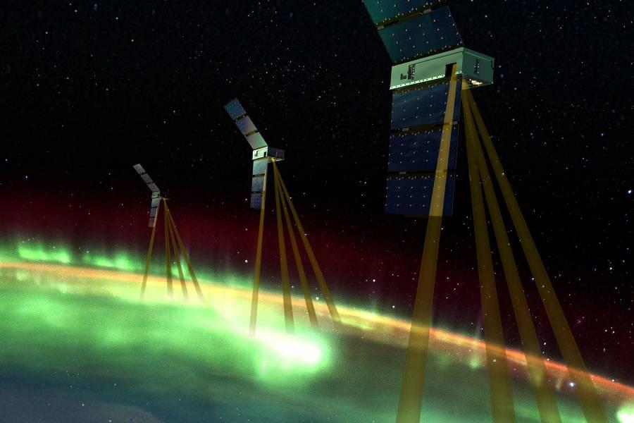 Artist's conception of the Johns Hopkins APL-led Electrojet Zeeman Imaging Explorer (EZIE) NASA mission