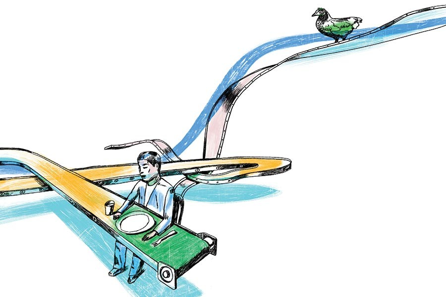 Illustration of a man sitting to dine at a conveyer belt