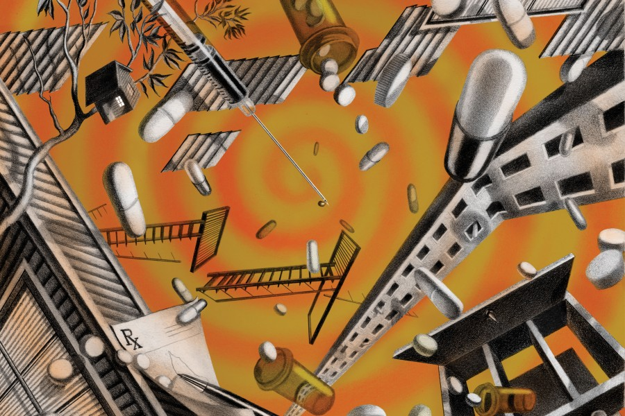 Illustration of pills, prescription pads, and syringes