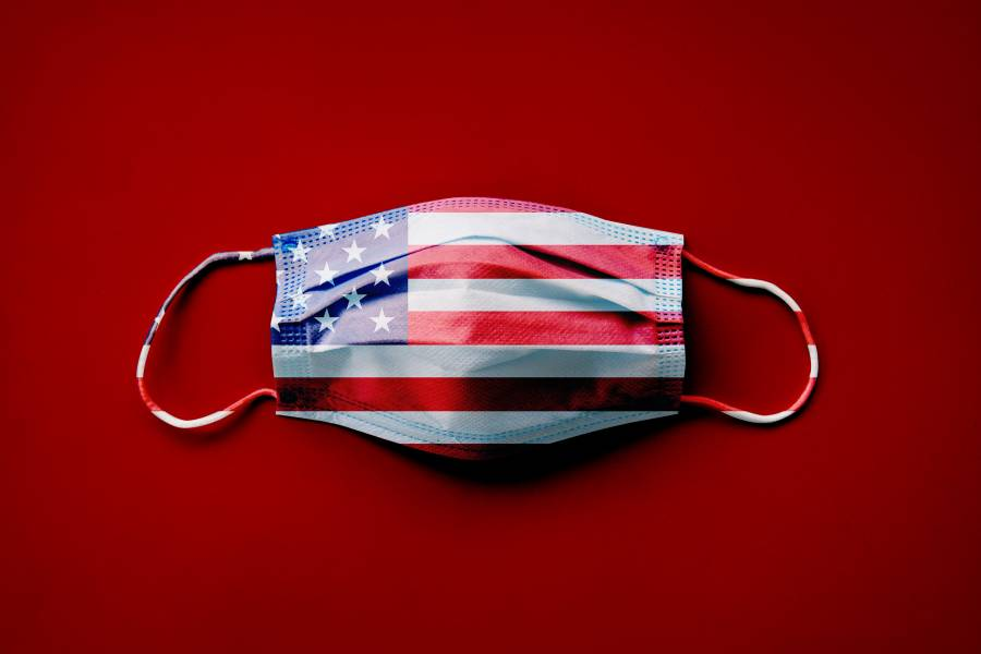 Face mask with American flag pattern against red background