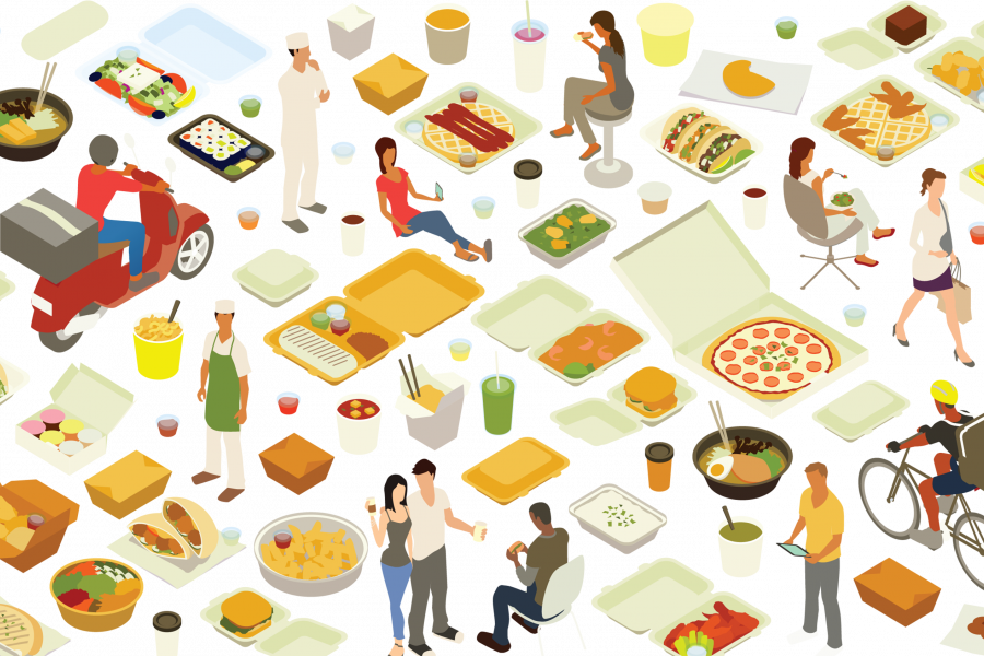 Illustration of aspects of the food system such as carryout boxes and food delivery workers