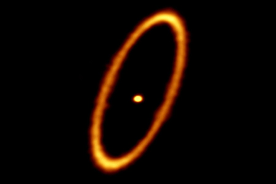 An orange-yellow ring encircles a yellow dot