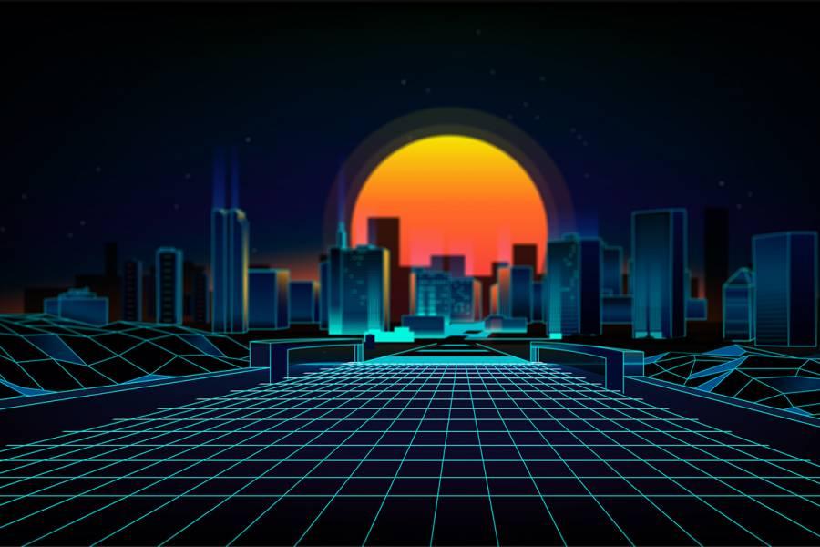 Skyline of futuristic city
