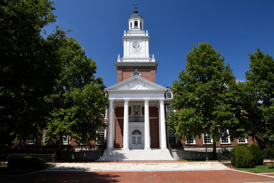 Front view of Gilman Hall on the Homewood campus of Johns Hopkins University