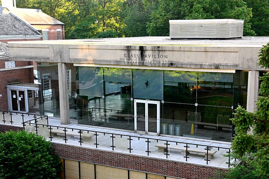 Homewood's Glass Pavilion is the site of the university's first COVID-19 vaccine clinic.