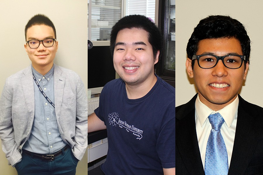 Goldwater Scholarship winners (from left) Alfred Chin, Duy Phan, and Fernando Vicente