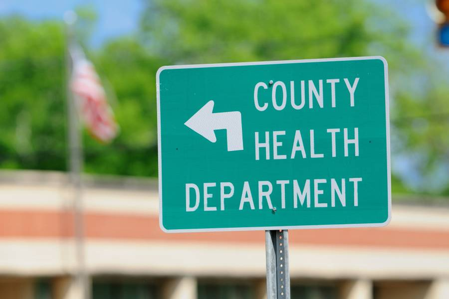 Sign indicating county health department