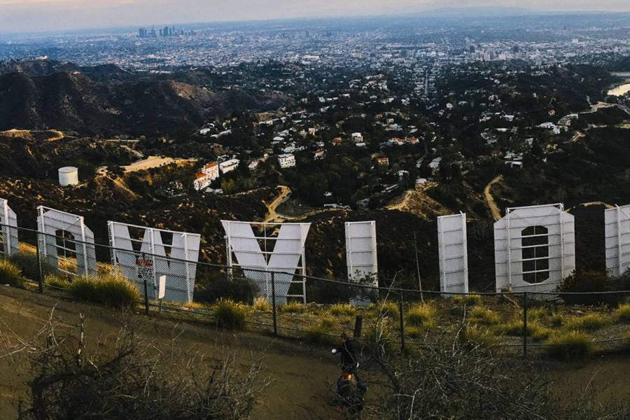 Photograph of the Hollywood sign from behind