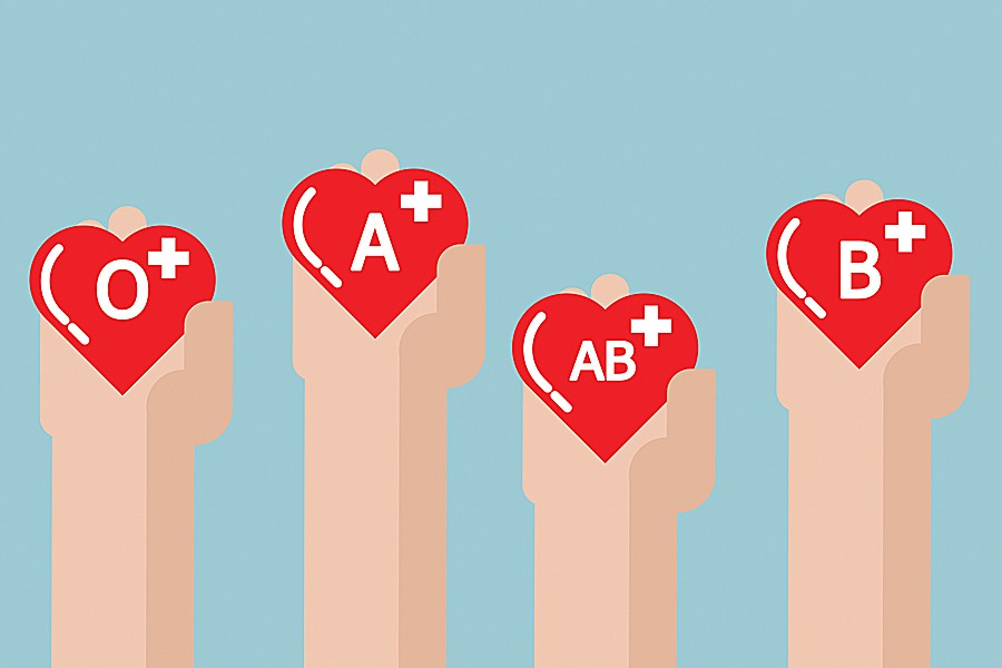 Illustration of four hands holding signs designating various blood types