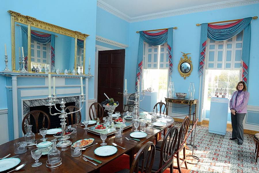 Julia Rose, director and curator of Homewood Museum, in the historic house's dining room.