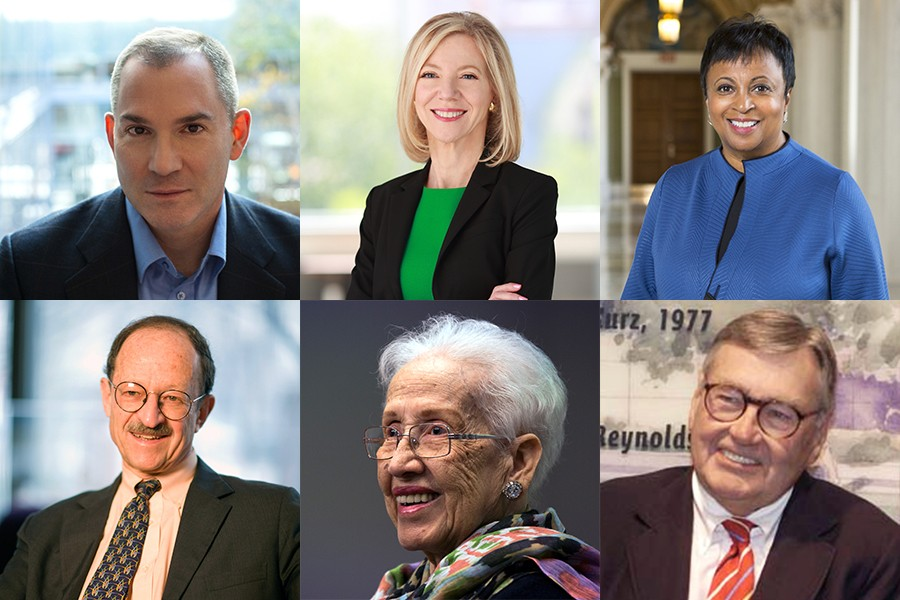 Images of each of JHU's six honorary degree recipients