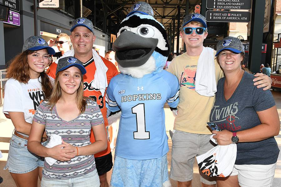 Lindsay Collier, Claire Collier, Clark Collier, the JHU Blue Jay, Conner Delahanty, and Nicole Delahanty