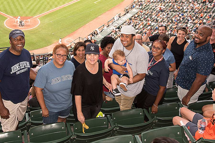 Johns Hopkins employees at Camden Yards in 2018