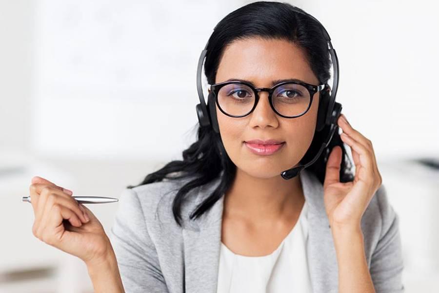 Woman wearing phone headset