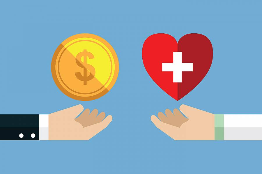 Illustration shows one hand holding money and another holding a heart indicating health insurance