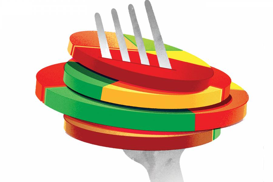 Illustration of pie charts speared on a fork