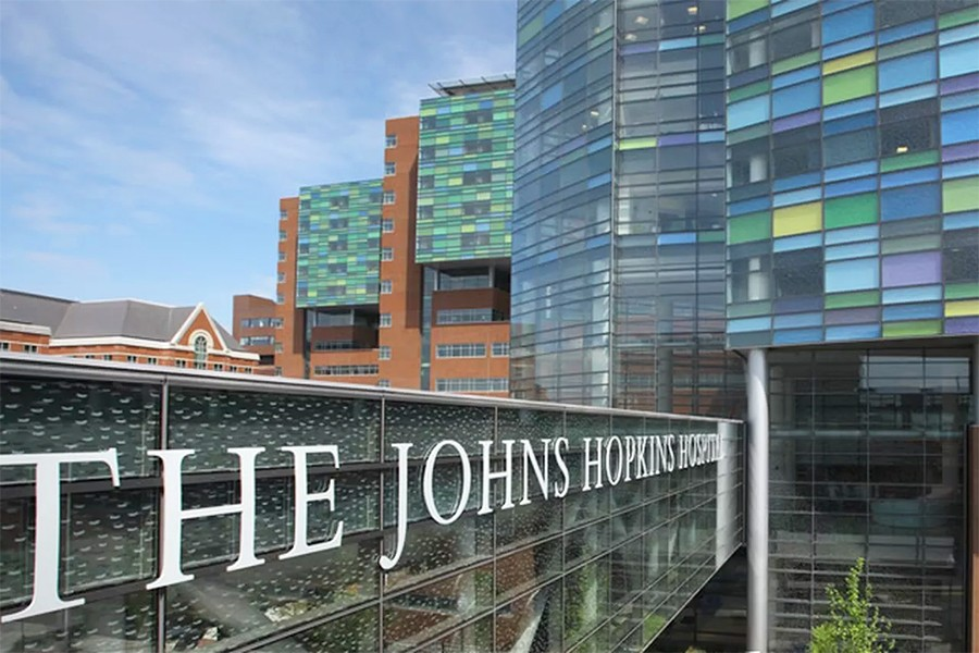 Exterior of The Johns Hopkins Hospitals colorful glass exterior and breezeway