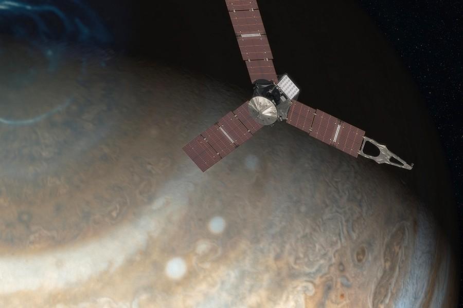 Artist's depiction of Juno spacecraft approaching Jupiter