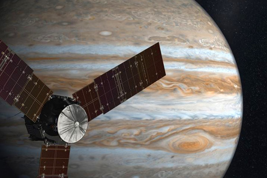 Artist's depiction of Juno spacecraft orbiting Jupiter