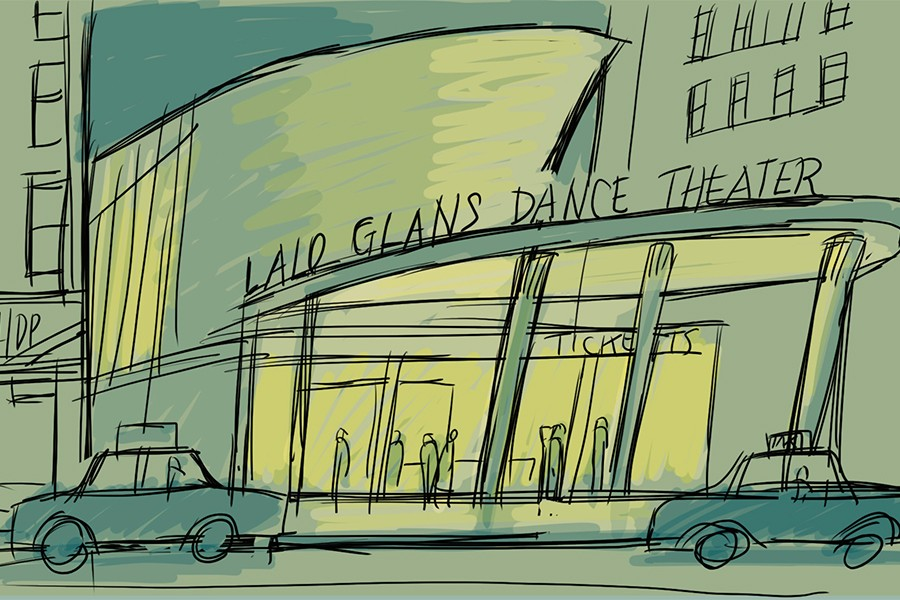 Black and white illustration of a dance theater