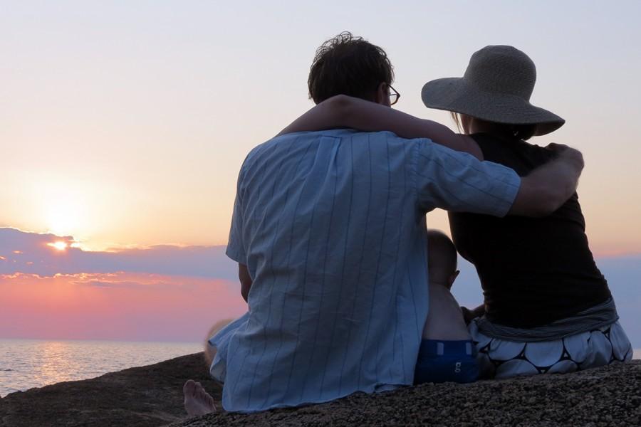 James Keck, Tara Loyd and their son at Lake Malawi