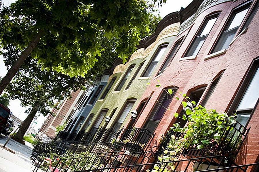 Colorful row houses in the Greenmount West neighborhood